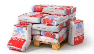 Утеплитель Putty bags stack on wooden pallet. Paper sacks isolated on white background. 3d illustration